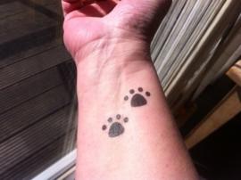 Tijdelijke tattoo van pootjes (8 pootjes).