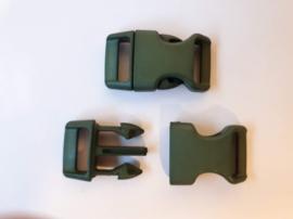 Buckle middel, klikgesp, leger groen, donker groen, doorvoer 16 mm.