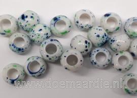 Kraaltjes, fris blauw groen, per 10, gat 5 mm