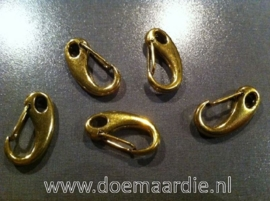 Metalen clipsluiting- musketonhaak, oud goud kleur, 32 mm.