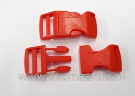Buckle , klikgesp, X Large, rood, doorvoer 25 mm.