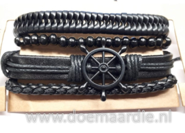 Setje van 4 armbanden, zwart, stuurwiel