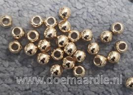 Kraal, goud, 6 x 4,5 gat 3 mm, per 10 of per 200
