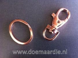 Sleutelhanger met ring, rose goud.