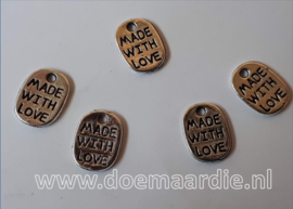 Made with love, ovaal, zilver. per 10