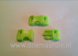 Buckle mini, klikgesp, neon groen, doorvoer 11 mm.
