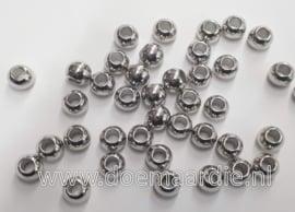 Kraal zilverkleurig, 8 x 6 gat 4 mm per 100