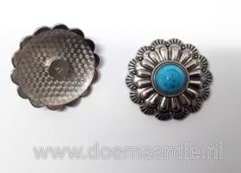 Concho, bloem, antiek zilver, turquoise