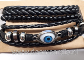 Setje van 3 armbanden, zwart