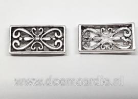 Fantasie schuifkraal, rechthoek barok, oud zilver