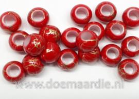Kraaltjes, helder rood goud, per 10, gat 5 mm