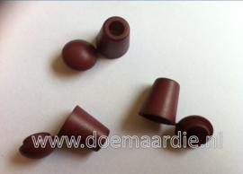 Koordeind, cord end, bruin/roodbruin.