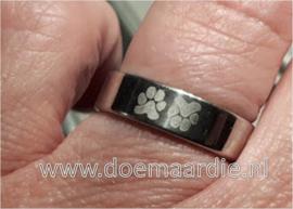 RVS, zilverkleurige ring met 2 pootjes
