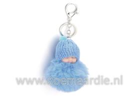 Sleutelhanger baby, fluffy, blauw.