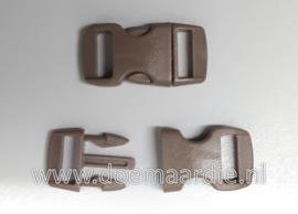 Buckle mini, klikgesp, Brown, doorvoer 11 mm