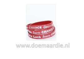 Wikkelarmband, geluk, luck, chance, fortuna warm rood.