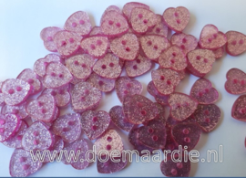 Roze hartje met glitter. per 10 stuks.