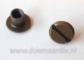 Boekschroef per 10, antiek messing 10 mm.