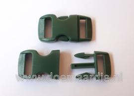 Buckle mini, klikgesp, donker groen, doorvoer 11 mm.