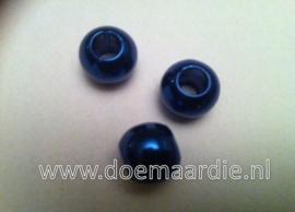 Kunststof kralen, donker blauw. (+/-50)