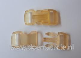 Buckle transparant,mini, klikgesp, geel, doorvoer 11 mm