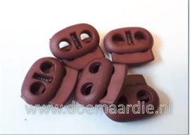 Koordstopper, 2 gaten, ovaal, burgundy (bruin/rood).