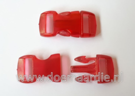 Buckle transparant,mini, klikgesp, rood, doorvoer 11 mm.