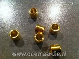 Kraal cilinder, metaal, per 10 stuks!! goudkleur.