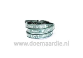 Wikkelarmband, liefde, amor, amour, groen zilverschaduw