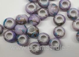 Kraaltjes, paars lila, per 10, gat 5 mm