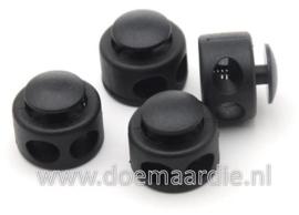 Touwstopper, zwart gat 7 mm.