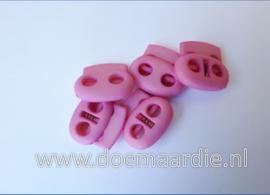 Koordstopper, 2 gaten, ovaal, roze.