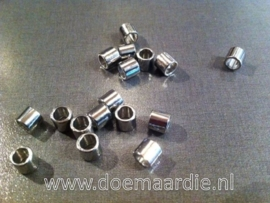 Kraal cilinder, metaal, per 10 stuks!! Nikkelkleur.