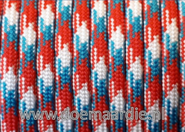 Paracord 550 Red, turquoise, white, vanaf 29 cent per meter.