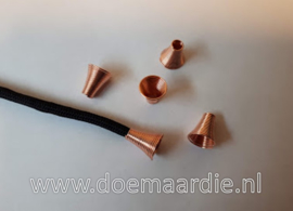 Cord end, rose goud. per 10