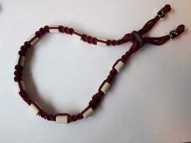 Tekenhalsband 37 cm. burgundy/rood bruin.