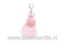 Sleutelhanger baby, fluffy, roze.