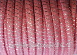 Spoeltje elastiek koord roze met glitters.
