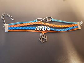 Love boxers armband, blauw, oranje.