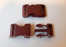 Buckle , klikgesp, Large bruin rood, doorvoer 20 mm.