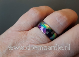 RVS ring multicollor (fuel) met hondenpootjes.