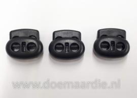 Koordstopper, 2 gaten, ovaal, zwart. nieuwe versie