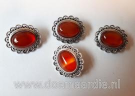 Klassieke schuifkraal Agate, rood/bruine tinten