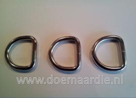 D ring gelast zilverkleurig, 25 mm x 4,5 mm