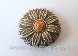 Concho, bloem, bronskleur 30 mm.