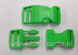 Buckle , klikgesp, X Large, groen, doorvoer 25 mm.