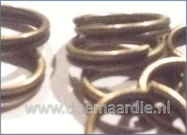 Split ringetje, dubbele ringetje, antiek brons. binnen 6 mm  (ong.100)