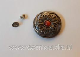 Concho, bloem, zilver kleur 28 mm.
