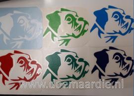 Boxer sticker, verschillende kleuren.