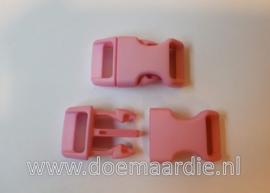 Buckle middel, klikgesp, roze, doorvoer 16 mm.